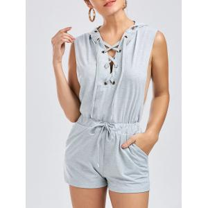 Hooded Drawstring Lace Up Playsuit