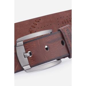 Artificial Leather Holes Embroidery Pin Buckle Belt -