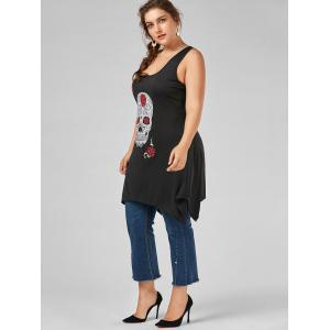 Skull Print Plus Size Tunic Tank Top - BLACK 5XL
