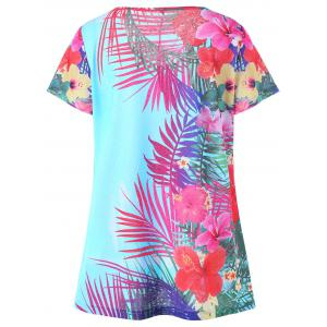 Plus Size Floral Hawaiian Top - WINDSOR BLUE 5XL
