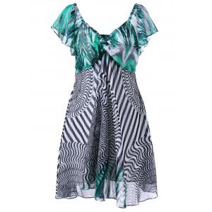 Plus Size Twist Bust Graphic Flowy Dress