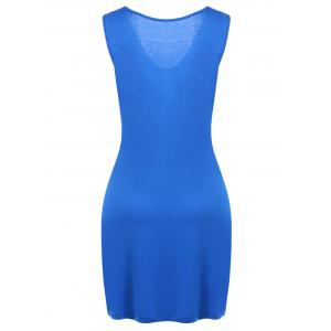 Two Tone Twist Front Plus Size Sleeveless Dress -