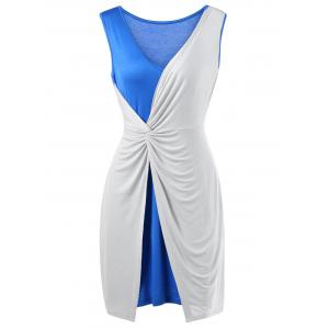 Two Tone Twist Front Plus Size Sleeveless Dress - Blue And White - 5xl