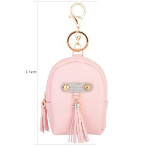 Faux Leather Tassel Coin Purse Key Chain - PINK