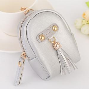 Faux Leather Tassel Coin Purse Key Chain - Silver