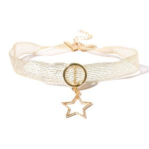 Alloy Star Circle Mesh Choker Necklace