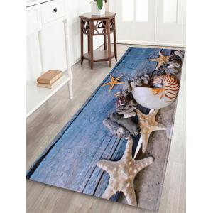 Conch Starfish Coral Velvet Skidproof Bath Rug - Blue Gray - W16 Inch * L47 Inch