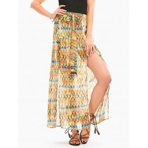 Snake Print High Slit Long Chiffon Skirt