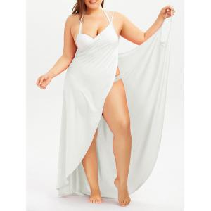 Plus Size Cover Up Beach Wrap Dress - White - 5xl