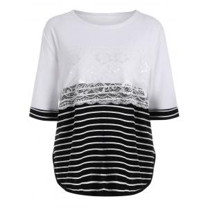 Stripe Block Lace Layered Plus Size Basic T-shirt