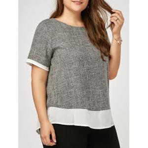 Marled Two Tone Plus Size Blouse - Gray - 4xl