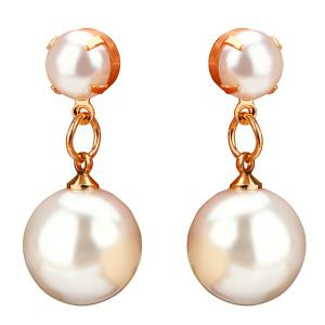 Double Artificial Pearl Drop Earrings