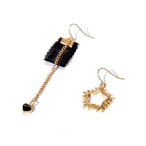 Rhinestone Star Asymmetric Heart Chain Earrings