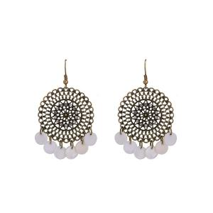 Shell Rhinestone Circle Floral Hook Earrings