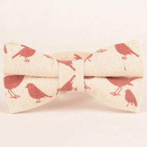 Cartoon Bird Printing Necktie Handkerchief Bowtie Set -