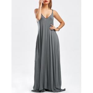 Pockets Maxi Slip Dress - Deep Gray - Xl