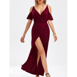Cold Shoulder Thigh High Slit Maxi Dress - Wine Red - Xl