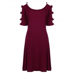 Cut Out Mini Tee Dress - Wine Red - S