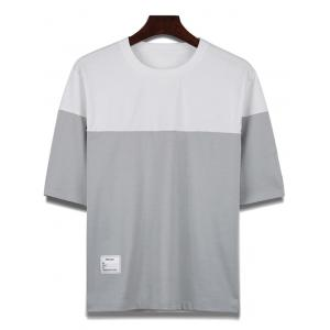 Two Tone Crew Neck Loose Tee