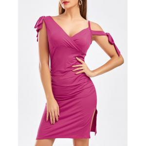 Self Tie Bowknot Slit Ruched Dress
