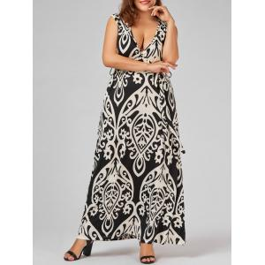Plus Size Plunge Maxi Printed Prom Dress