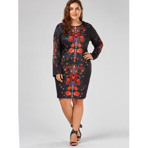 Floral Printed Plus Size Long Sleeve Sheath Dress -