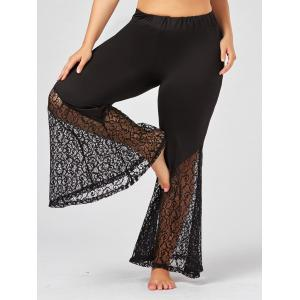 Plus Size Lace Crochet Panel Bell Bottom Pants - Black - 5xl