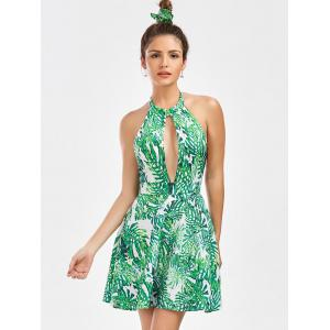 Leaf Print Halter Neck Backless Summer Dress - GREEN S