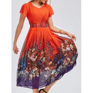 Casual Bohemian Floral Flowy Midi Dress - Jacinth - L