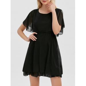 Chiffon Cold Shoulder Mini Summer Dress - Black - M