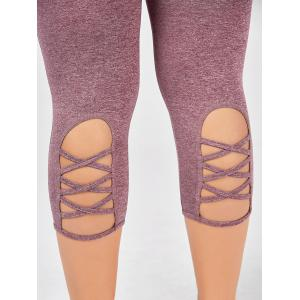 Criss Cross Cutter Plus Size Capri Leggings de remise en forme - Pourpre Rosé XL
