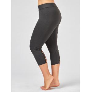 Criss Cross Cutout Plus Size Capri Fitness Leggings - Deep Gray - 3xl