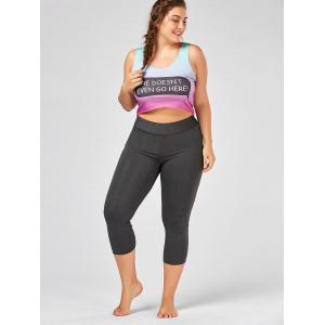 Criss Cross Cutout Plus Size Capri Fitness Leggings -