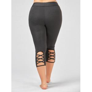 Criss Cross Cutout Plus Size Capri Fitness Leggings - DEEP GRAY 2XL