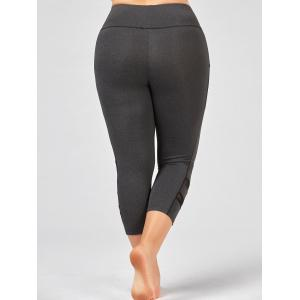 Plus Size High Waist Fitness Leggings with Mesh Panel - GRAY XL