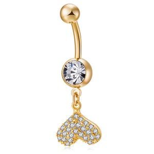 Rhinestone Inlay Heart Shape Navel Button - Golden