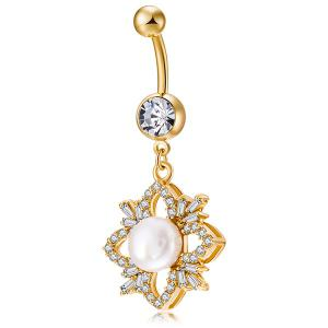 Rhinestone Flower Shape Faux Pearl Navel Button