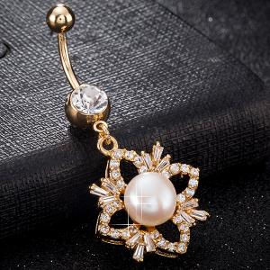 Rhinestone Flower Shape Faux Pearl Navel Button - GOLDEN