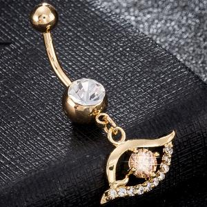 Faux Gem Hollow Out Eye Navel Button - Champagne Gold