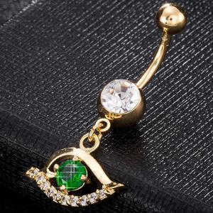 Faux Gem Hollow Out Eye Navel Button