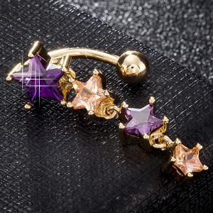 Artificial Gemstone Pentagram Belly Button Jewelry - PURPLE