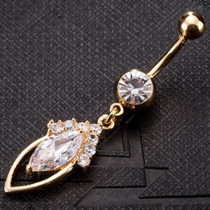 Rhinestone Hollow Out Fusiform Navel Button Jewelry -