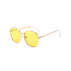 Mirrored Metallic Inlay Frame UV Protection Sunglasses - YELLOW