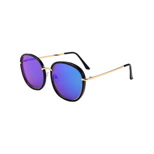 Mirrored Metallic Inlay Frame UV Protection Sunglasses - BLACK/BLUE/GREEN