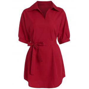 Plus Size Long V Neck Work Shirt with Belt