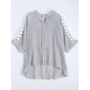 Notched Lace Panel High Low Plus Size Stripe Shirt - Crystal Cream - 5xl