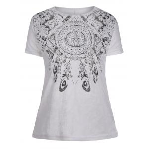 Sheer Tribal Print Graphic Tee