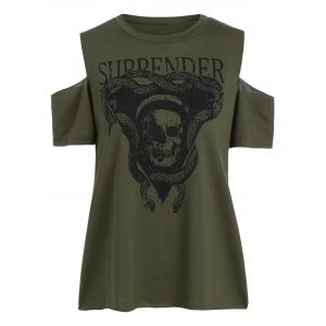 Skull Print Cold Shoulder Tee - Army Green - Xl