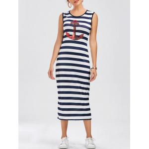 Sleeveless Striped Anchor Print Long Casual Dress - Stripe - Xl
