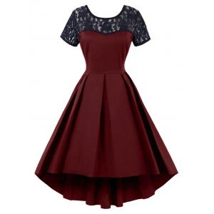 High Low Lace Insert Vintage Dress - Wine Red - Xl